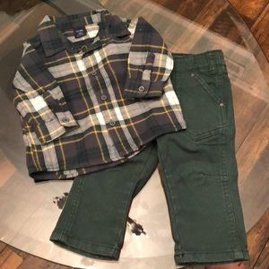 2 Piece 6-12 Month Boy Plaid Outfit